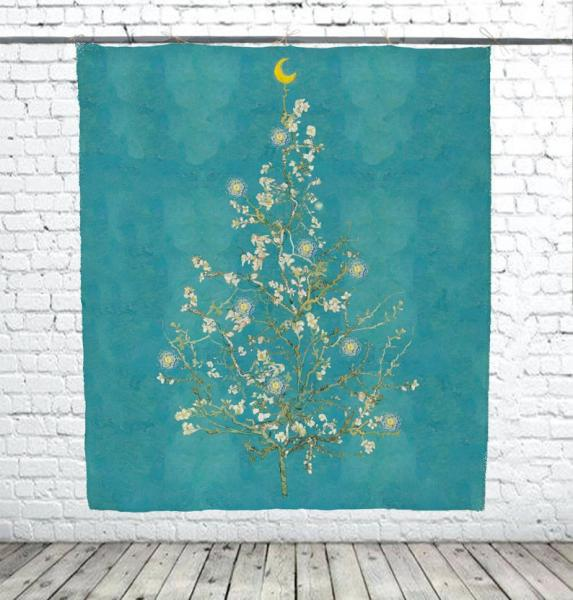 Christmas tree / Almond Blossom (blue background)