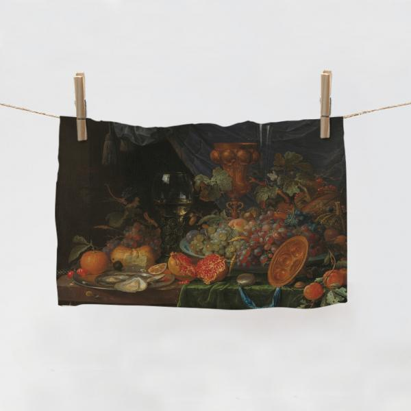 Kitchen Towel / Still Life with Fruit and Oysters