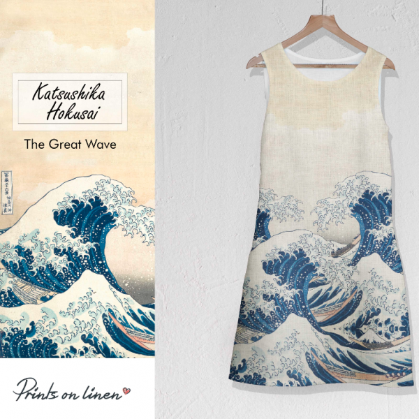 Linen dress / The great wave