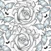 Seamless pattern with black dotted rose, leaves and butterflies in pastel color on the white background.
