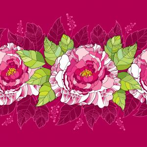 Seamless pattern with peony flower in pink and green leaves on the dark background.