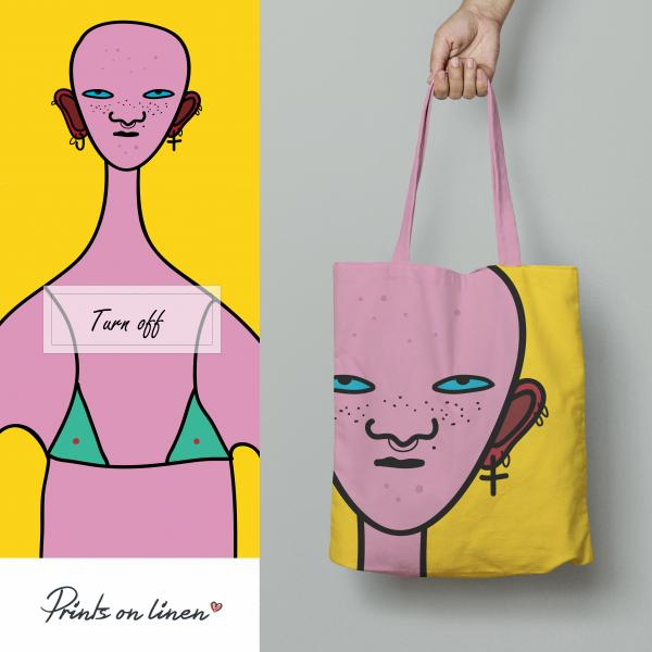 Tote bag / Turn off (pink)