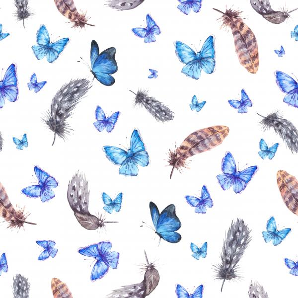 Watercolor pattern with feathers and blue butterflies