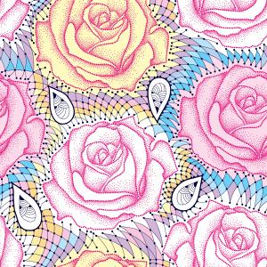 Seamless pattern with dotted rose in pink and decorative lace.