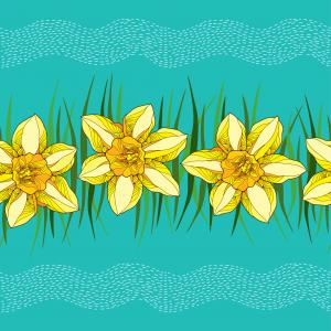 Floral pattern with narcissus in yellow and green leaves.