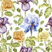 Pattern with flowers and buds of roses and irises.