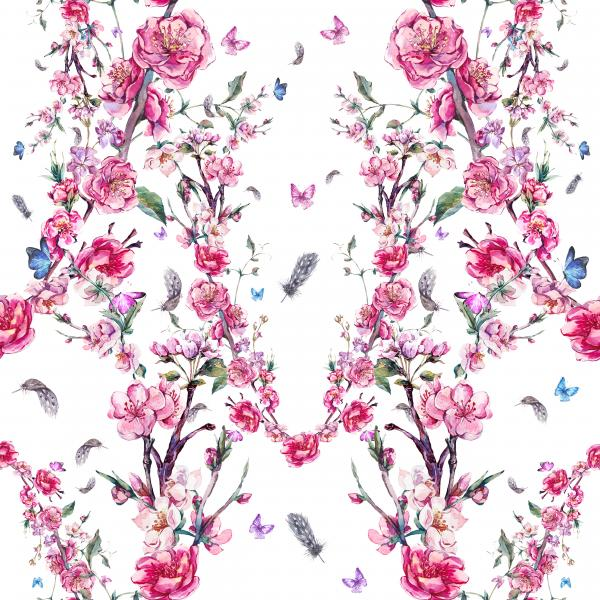 Watercolor pattern with pink blooming branches