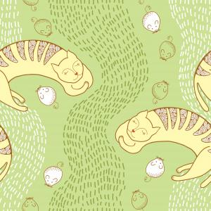 Seamless pattern with sleeping yellow cat and mouse.
