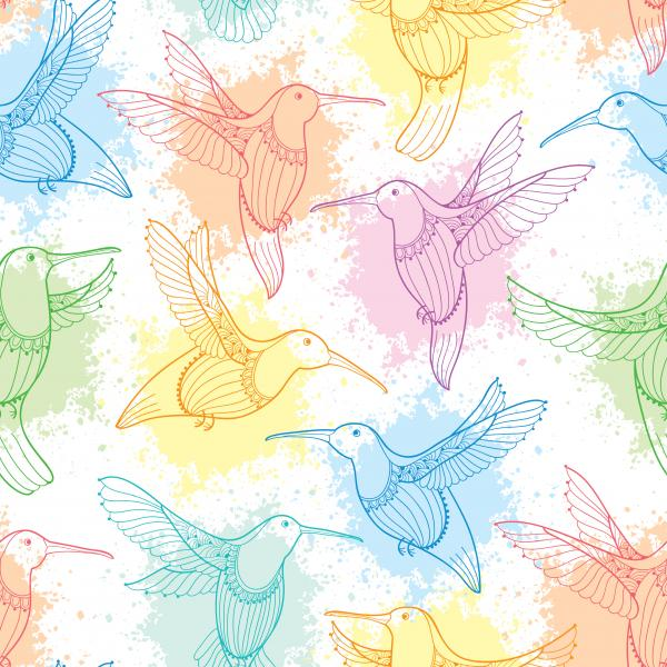 Seamless pattern with flying Hummingbird or Colibri in contour style and blots in pastel color.