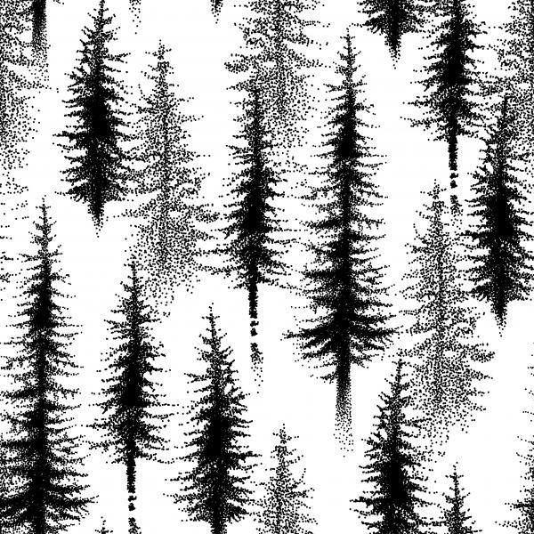 Dotwork seamless pattern with spruce tree or coniferous forest in black on the white background.