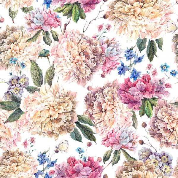 Vintage Floral Watercolor Pattern with White Peonies