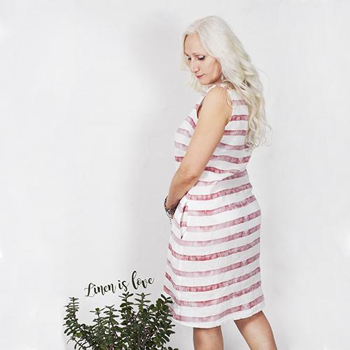 Linen dress with red lines
