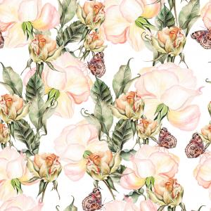 Beautiful Bright Colorful Watercolor Pattern With Rose Flowers and butterfly.