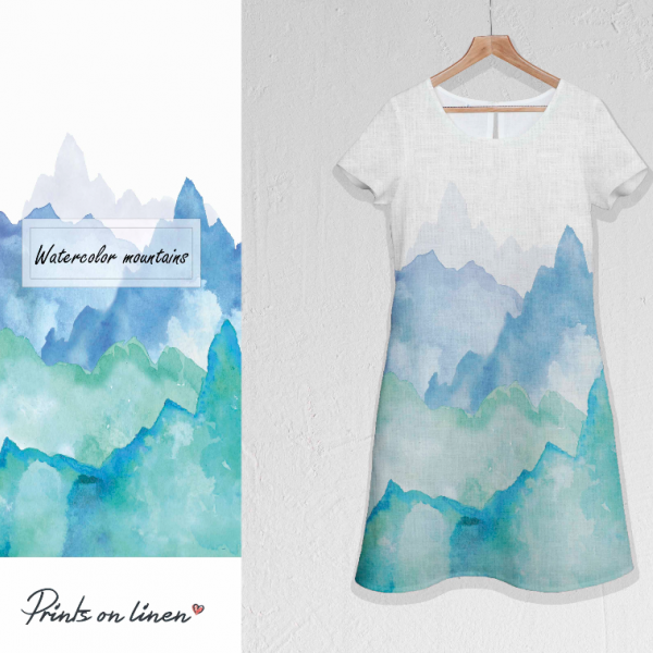 Dress / Watercolour Mountains / Blue edition