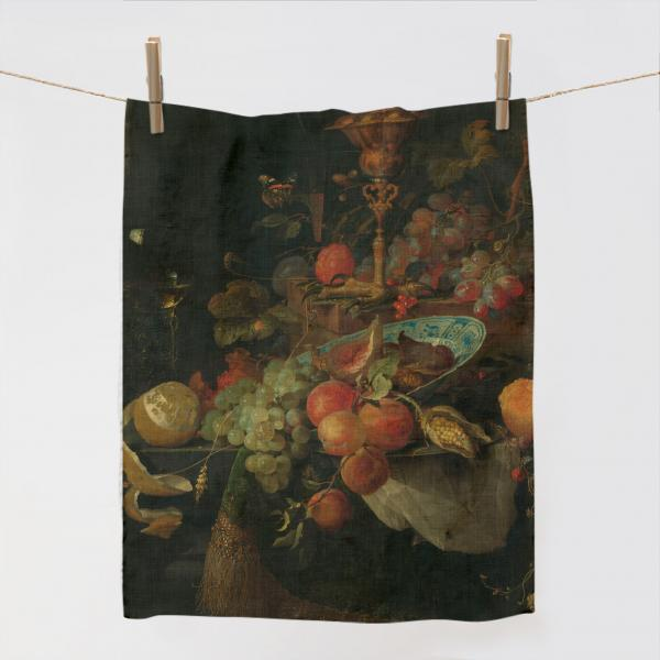 Kitchen Towel / Still Life with Fruit and a Beaker on a Cock's Foot