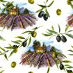 Watercolor pattern with landscape blooming violet lavender and olives