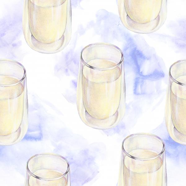 Watercolor pattern with a glass of milk