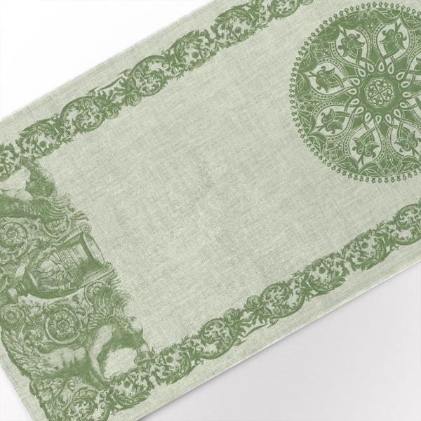 Table runner / Solid Green with Circle