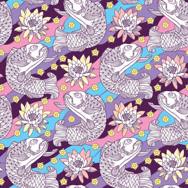 Seamless pattern with koi carp and lotus or water lily on the background in pink, blue, violet and yellow.