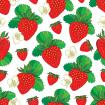 Summer pattern with Strawberry. Red berry, flowers and green leaf on the white background.