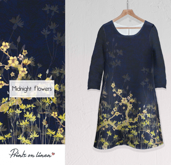 Linen dress / Midnight Flowers