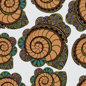 Pattern with shells and flowers