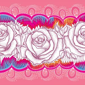Seamless pattern with dotted rose and decorative lace on the pink background.