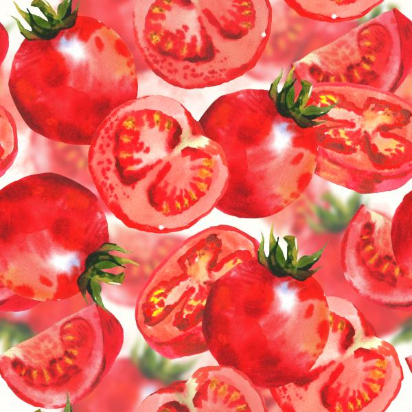 Watercolor pattern with tomatoes