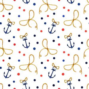 Watercolor hand drawn nautical pattern