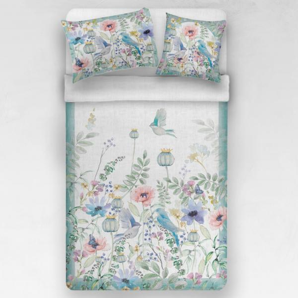 Linen bedding set / Spring birds