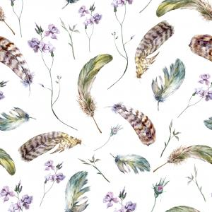 Watercolor floral pattern with feathers