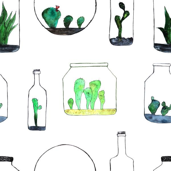 Bottled cacti, watercolor pattern