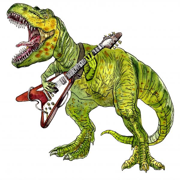 Tyrannosaurus playing the guitar watercolor
