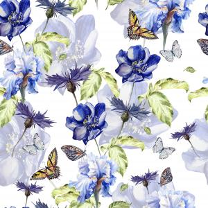 Pattern with watercolor realistic  anemon,  cornflowers, iris and butterflies.  Illustration.