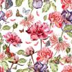 watercolor pattern with beautiful butterflies and flowers iris, poppies, peonies.