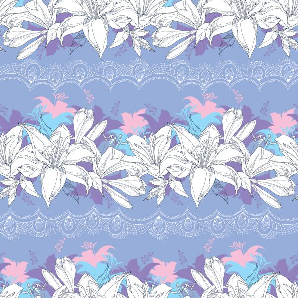 Seamless pattern with ornate Lily flower in white, blue and pink and decorative white lace on the violet background.