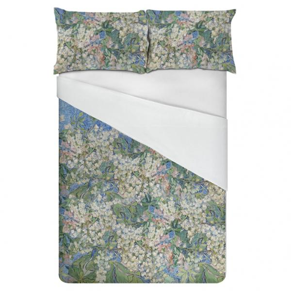 Linen bedding set / Blossoming Chestnut Branches