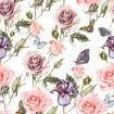 Pattern with watercolor realistic rose. iris and butterflies.