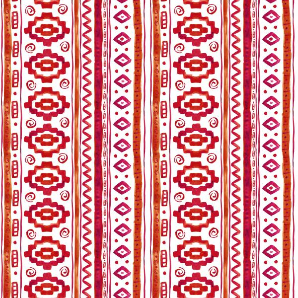 Red ethnic african watercolor pattern