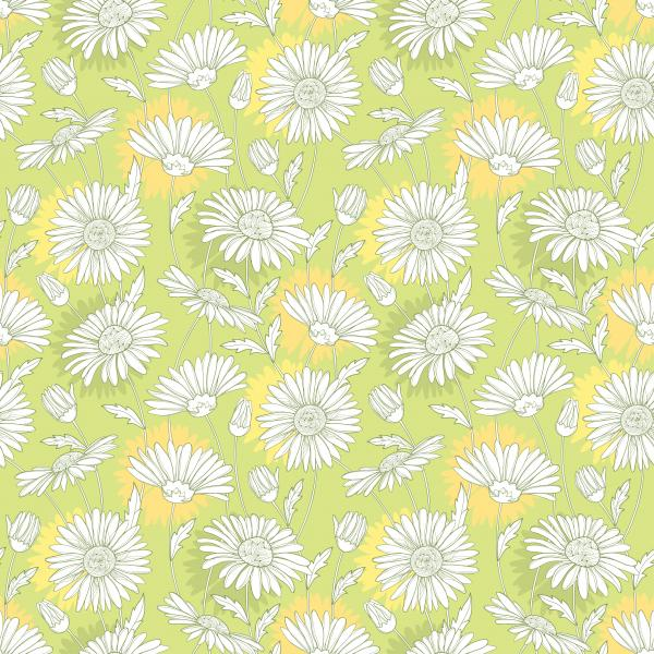 Pattern with outline white Chamomile flower and leaves on the pastel background.