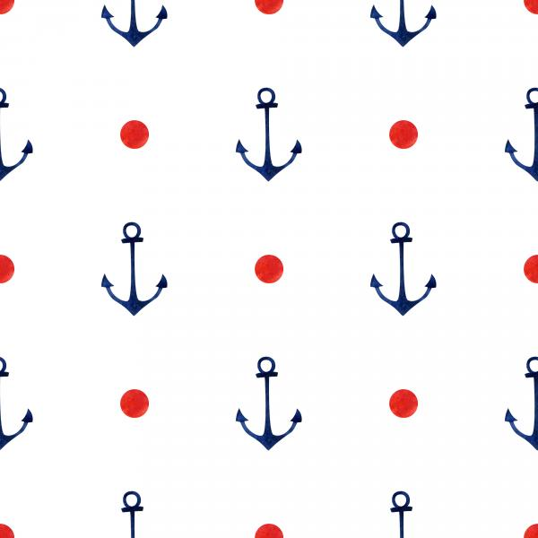 Watercolor hand drawn pattern with little anchors and dots