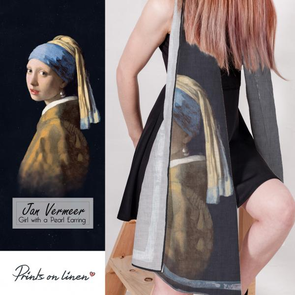 Linen scarf / Girl with a Pearl Earring
