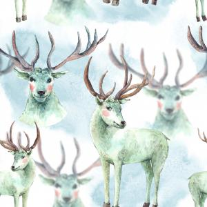 Watercolor pattern with Snow white deer