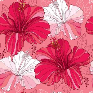 Floral pattern with Chinese Hibiscus in red and in white.