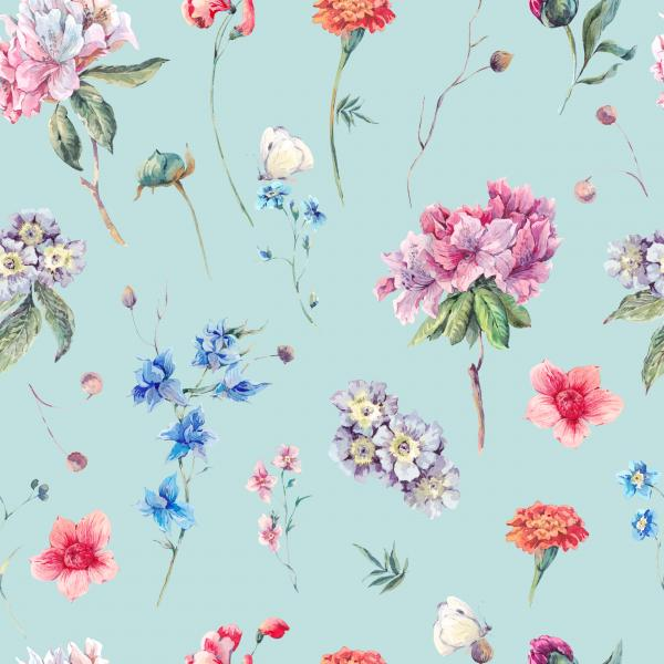 Watercolor pattern with garden flowers