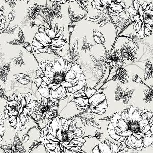 Black and white pattern with flowers, butterflies and bees