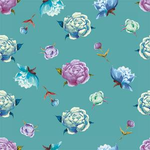 Peonies pattern with mint colour background