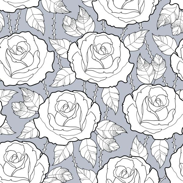 Elegance floral background with roses in contour style for summer design.