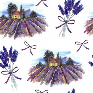 Watercolor pattern of landscape and bouquet lavender