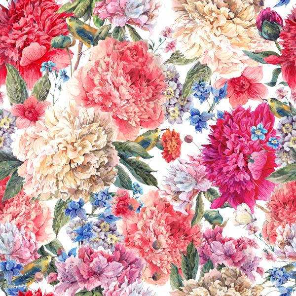 Floral watercolor pattern with peonies
